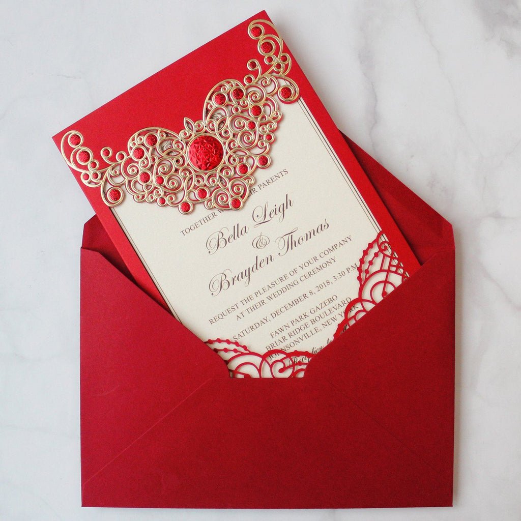Red Lace Wedding Invitation Cards Red Wedding Theme PB2000-R Picky Bride