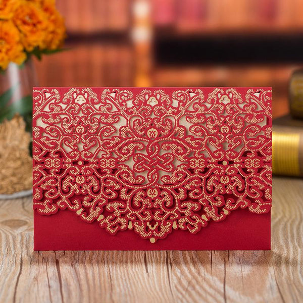 Red Pocket Wedding Invitations, Red Invite Cards PB1988-R Picky Bride