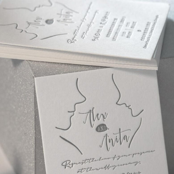 Romantic Calligraphy Letterpress Wedding Invitations with Envelopes, Monogram Classic Wedding Picky Bride