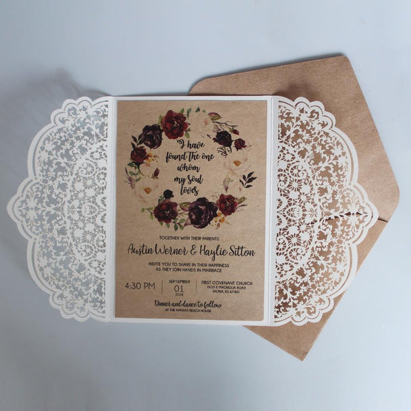 Romantic Laser Cut Wedding Invitations With RSVP, Snowy White Invitations for Wedding Picky Bride