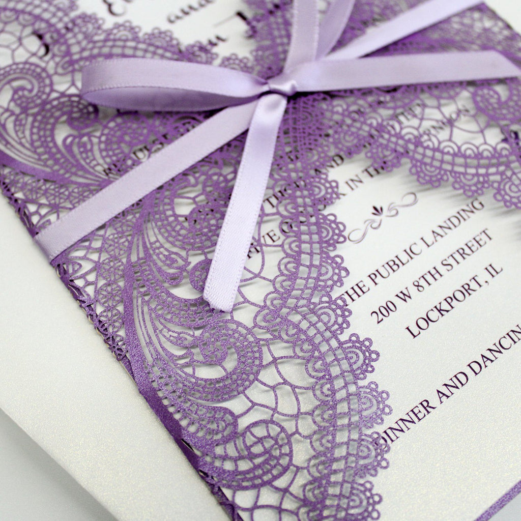 Romantic Purple Lace Wedding Invitations With RSVP Cards Picky Bride