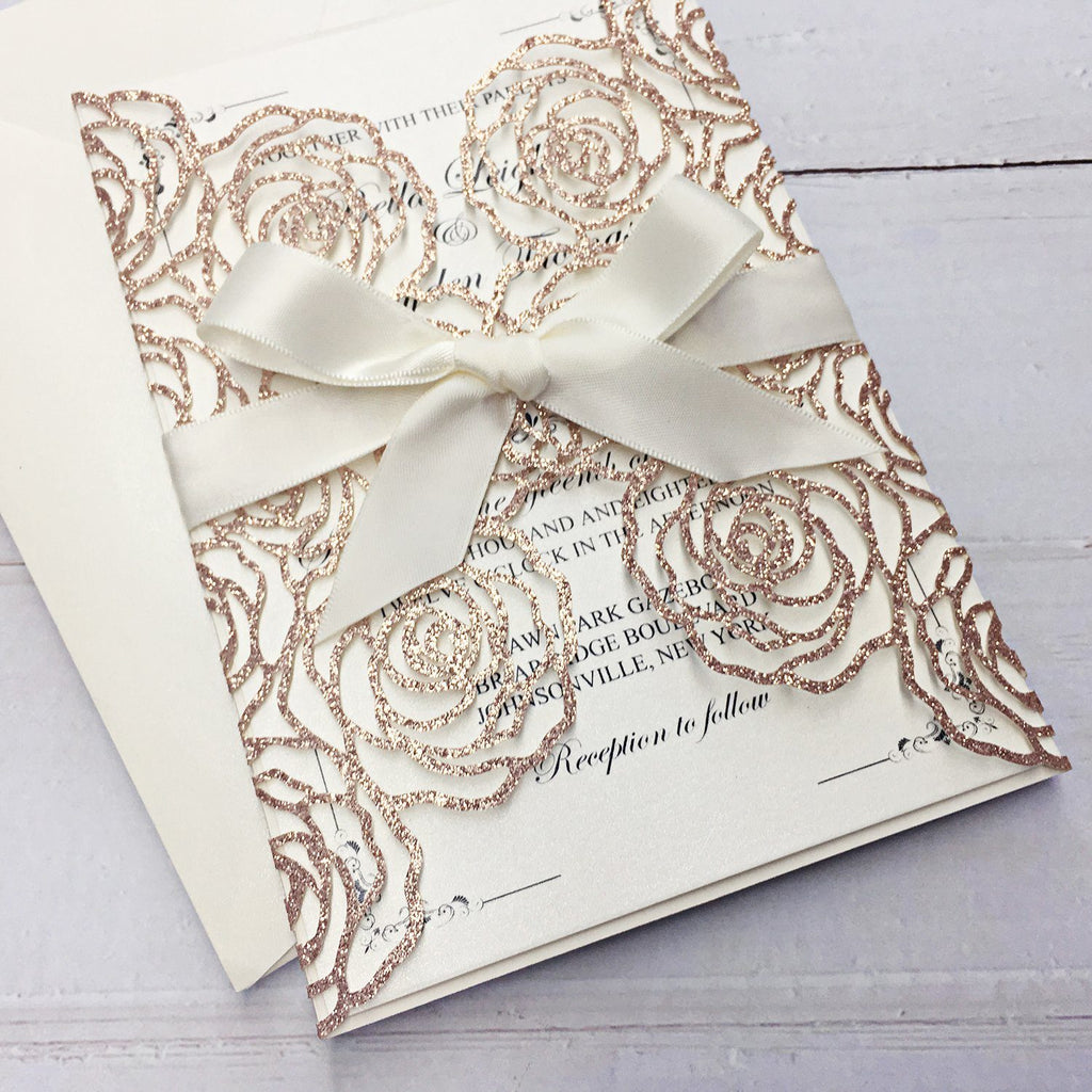 Rose Flower Theme Wedding Invitations With Custom Wording Picky Bride