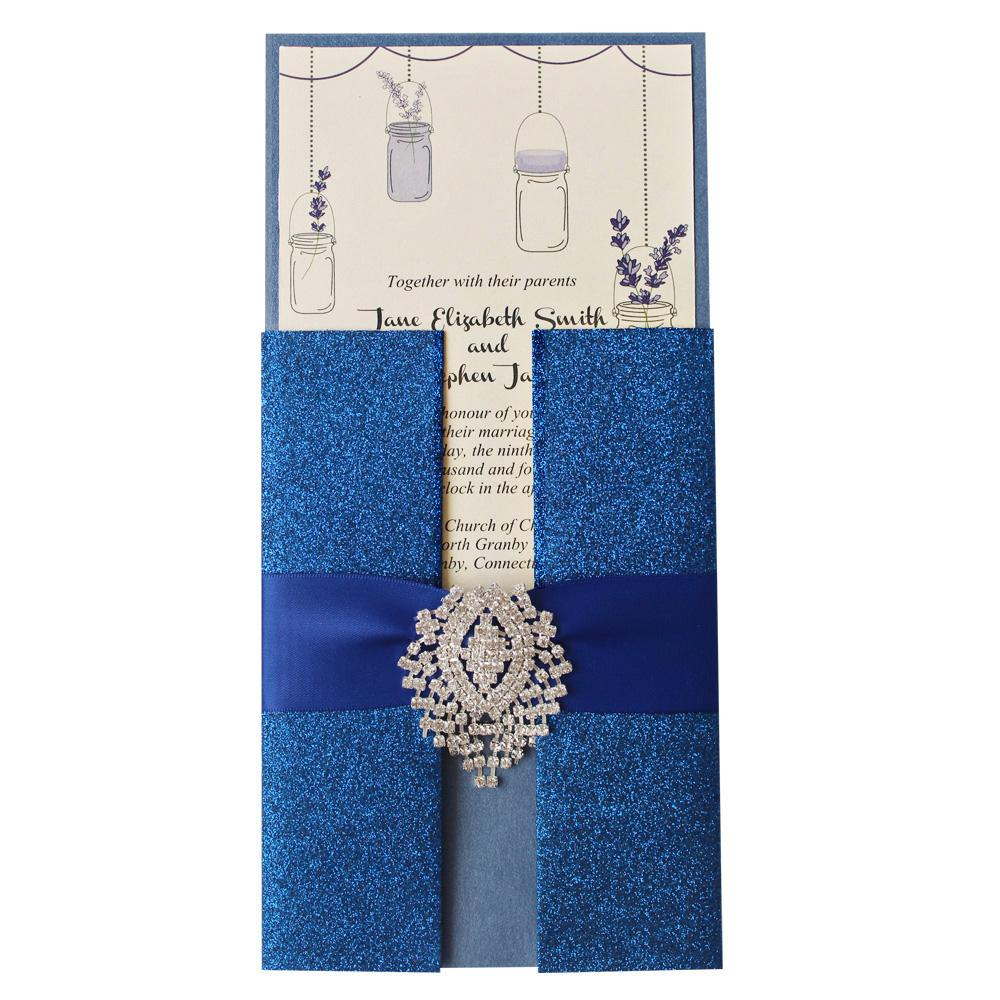 Royal Blue Wedding Invitation, Shimmer Invitation Card, Blue Invitation for Wedding Picky Bride