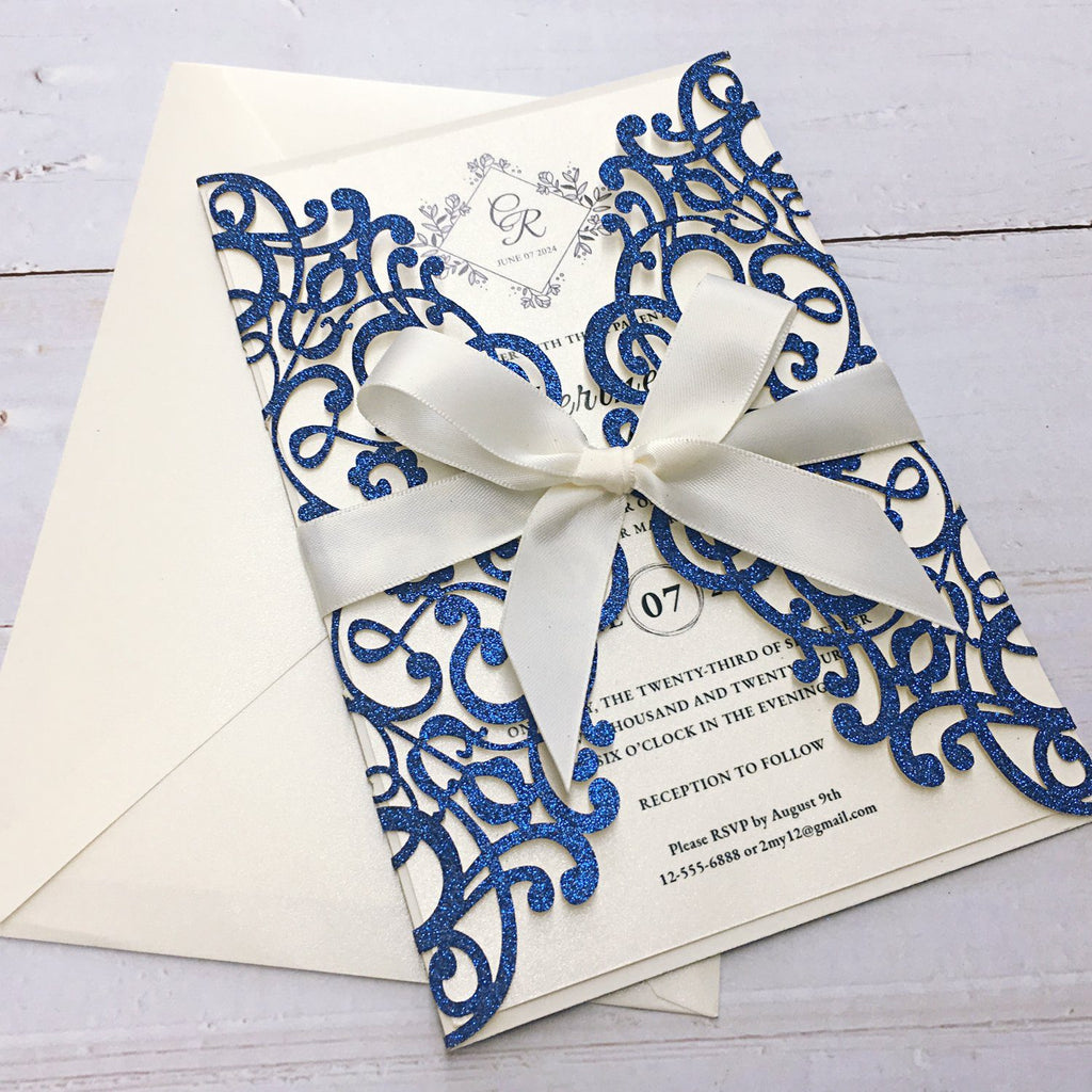 Royal Glitter Blue Wedding Invitations, Wedding Invite Cards for Wedding Picky Bride