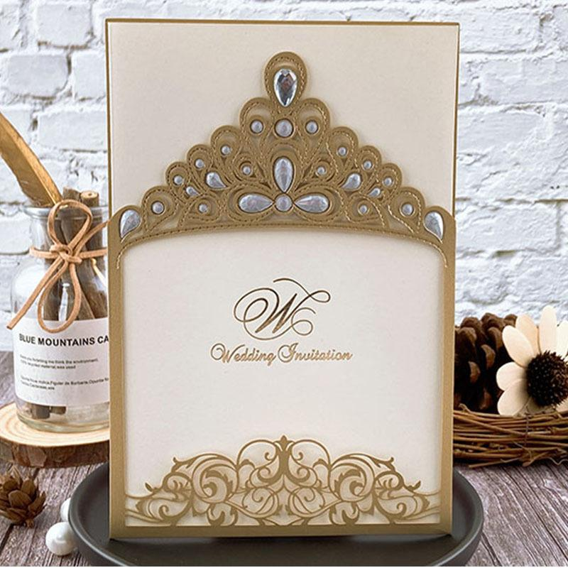 Royal Princess Invitations Luxury Metallic Sparkly Wedding Cards Picky Bride Gold 1 Sample