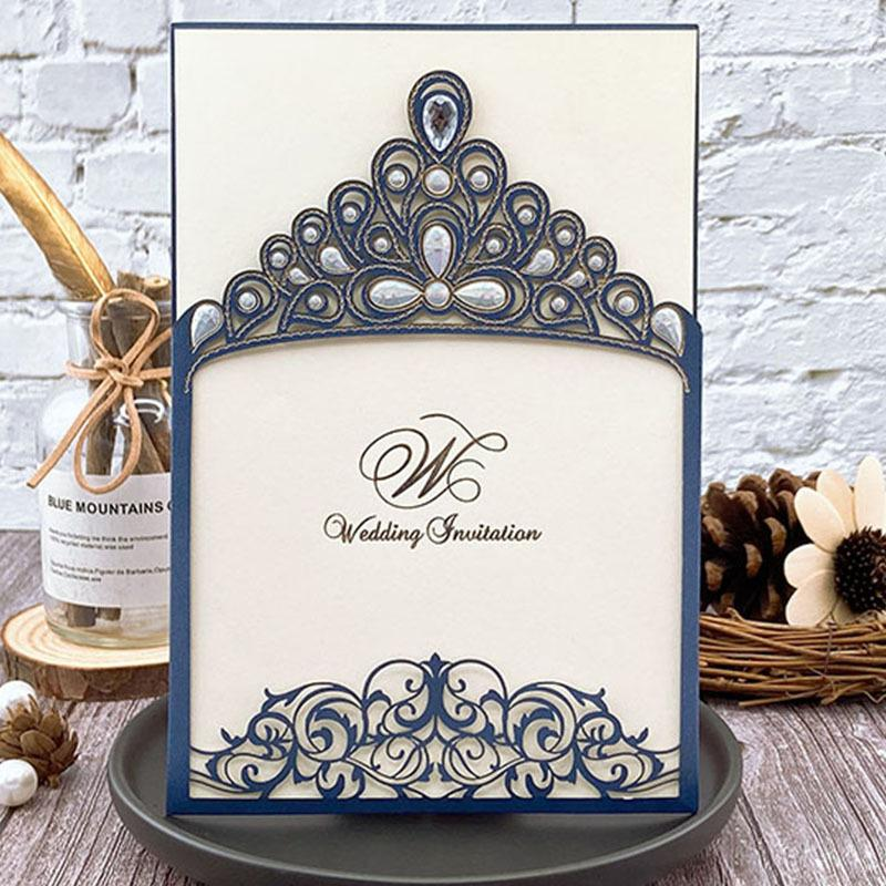 Royal Princess Invitations Luxury Metallic Sparkly Wedding Cards Picky Bride Navy 1 Sample