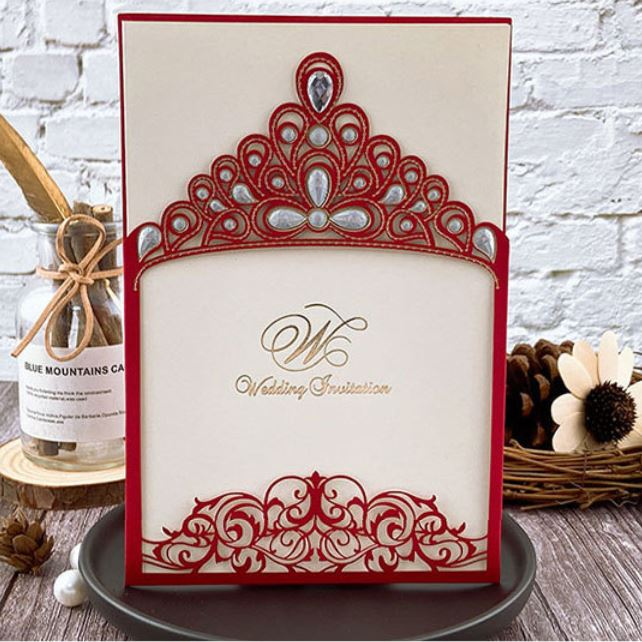Royal Princess Invitations Luxury Metallic Sparkly Wedding Cards Picky Bride Red 1 Sample