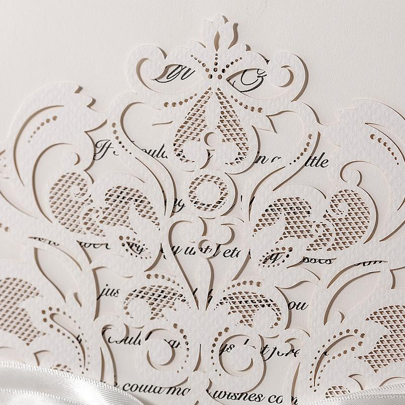 Royal White Laser Cut Wedding Invitations - Set of 50pcs Picky Bride