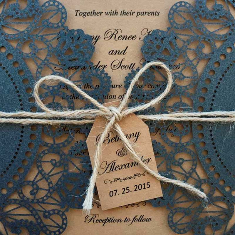 Rustic Black Wedding Invitation, Black Lace Wedding Invitation Picky Bride
