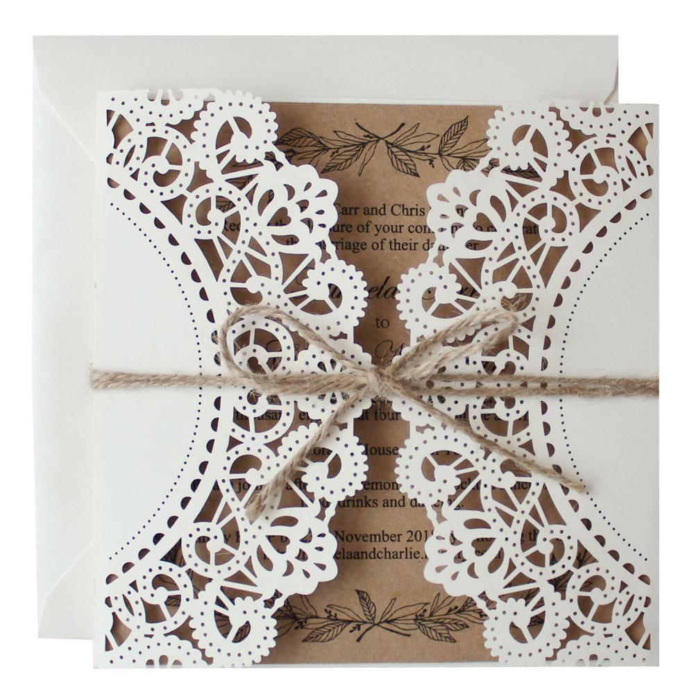Rustic Laser Cut Wedding Invitation Cards Picky Bride