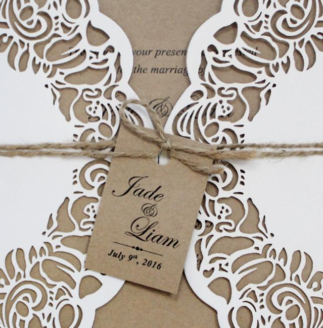 Rustic Laser Cut Wedding Invitations; Kraft Paper Wedding Invitation Suite; Vintage Invitation Cards Picky Bride