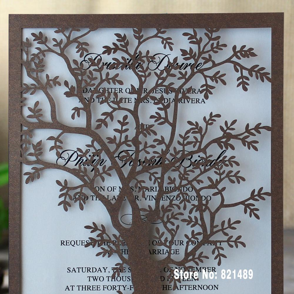 Rustic Tree Wedding Invitations, Laser Cut Tree Invitations, Printable Wedding Invitation Cards Picky Bride