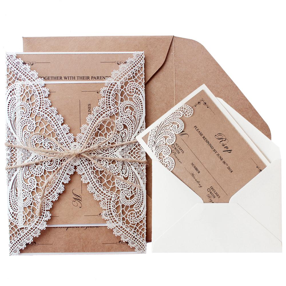 Rustic Wedding Invitations Customized White Invitation Cards Picky Bride
