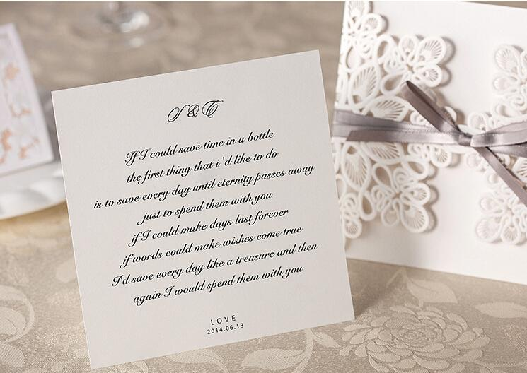 Rustic Wedding Invitations With Gray Ribbon Bow - Set of 50pcs Picky Bride