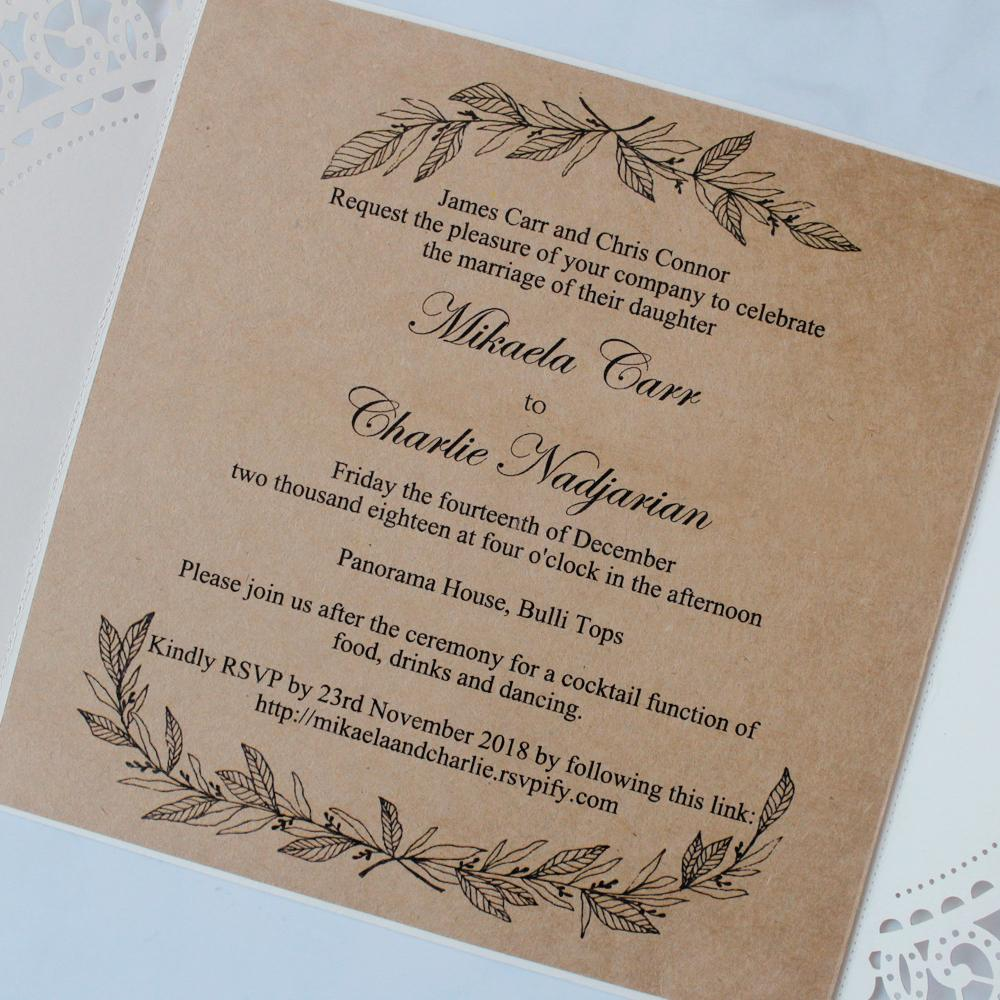 Rustic Wedding Invitations with Monogram Tag, Print Customized Wording Picky Bride
