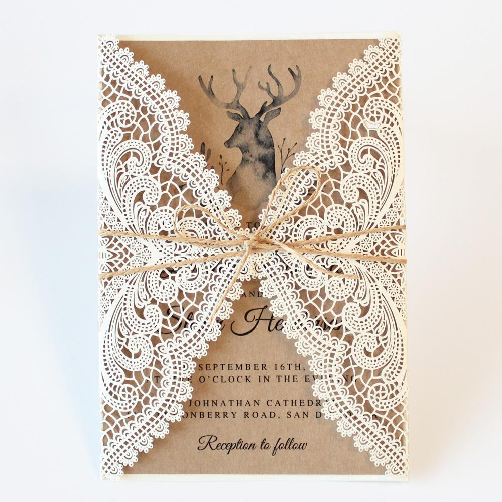 Rustic White Lace Wedding Invitation Cards with RSVP Cards Kraft Paper PB1990-R Picky Bride