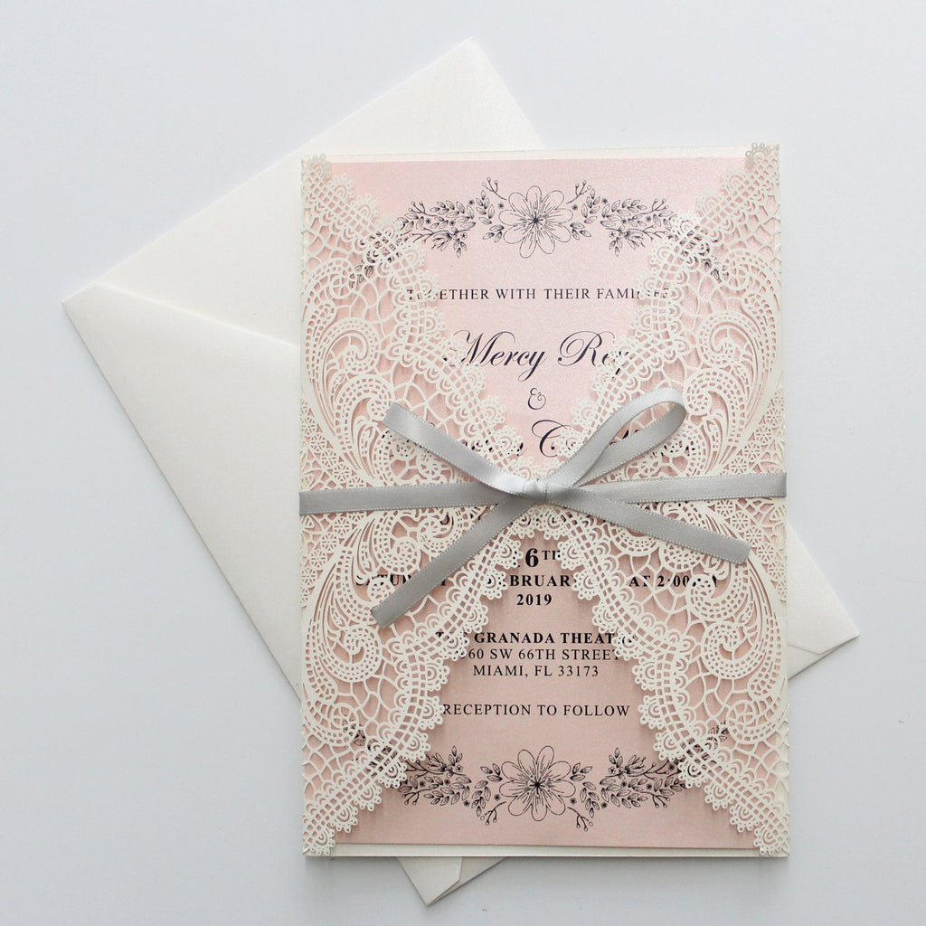 Shimmer Blush Pink Wedding Invitation with Silver Ribbon Bow and Envelopes Picky Bride