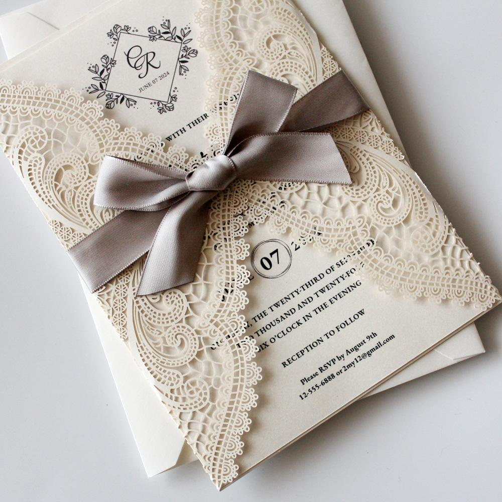 Silver Ribbon Laser Cut Wedding Invitations by Picky Bride Picky Bride