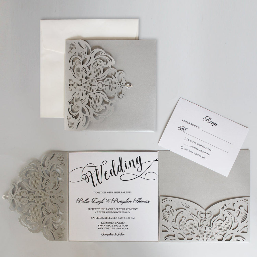 Silvery Gray Groom Wedding Invitations with RSVP Cards Picky Bride