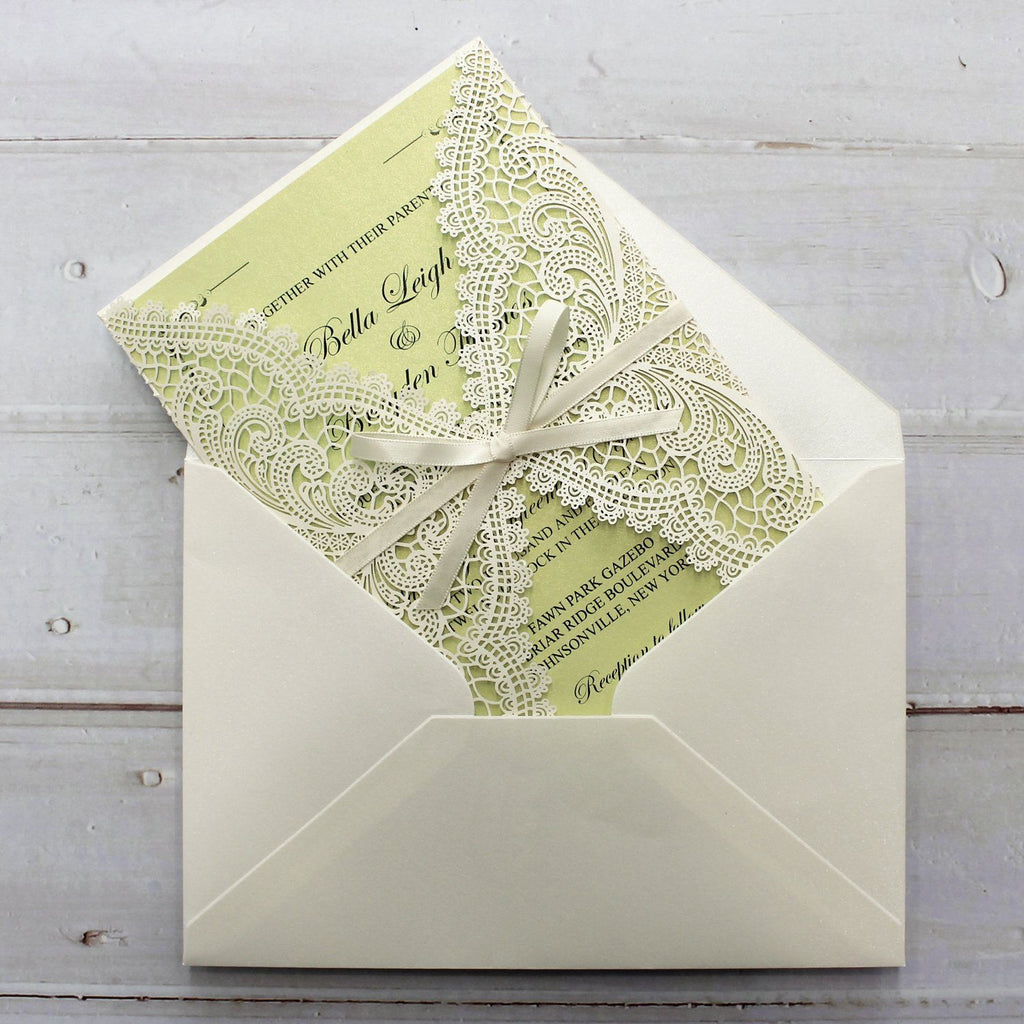 Spring Fresh Green Wedding Invitation for a Lawn Wedding Theme Picky Bride