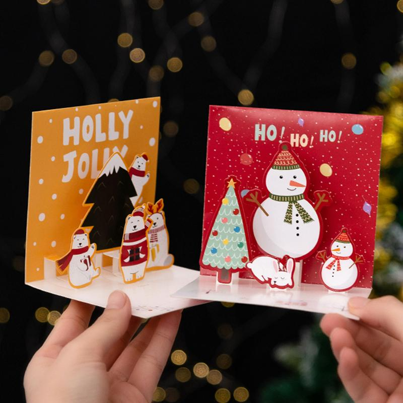 Three Dimensional Christmas Card Handmade Holiday Cards 3D Diy Cards Picky Bride