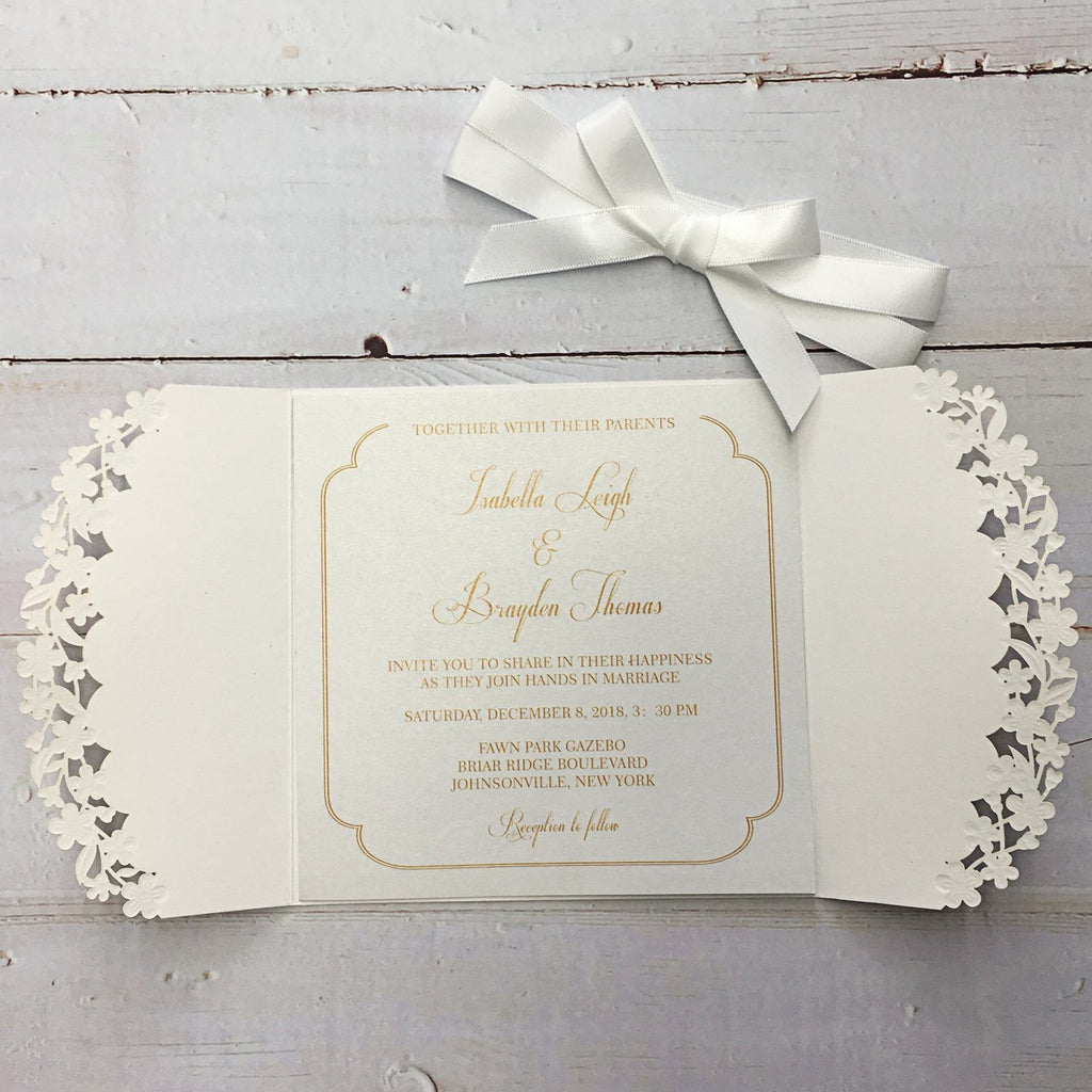 Unique Wedding Invitation with Printed Inserts White Lace Wedding Invitation Picky Bride