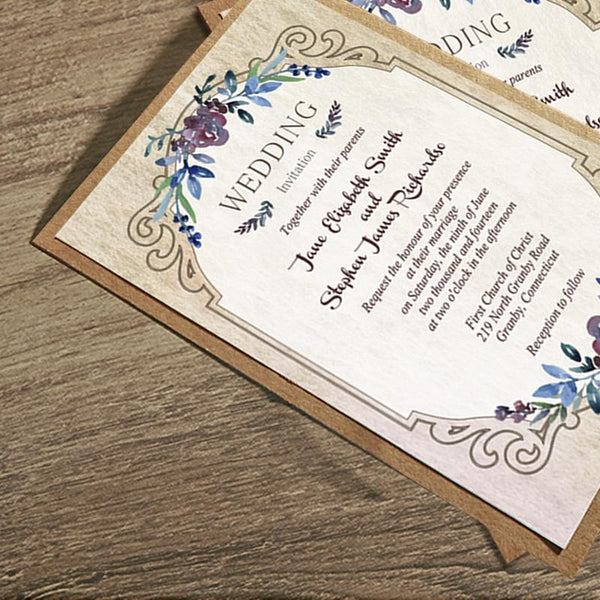 Vintage Flowers Wedding Invitations, Rustic European Style Invitation Cards Picky Bride