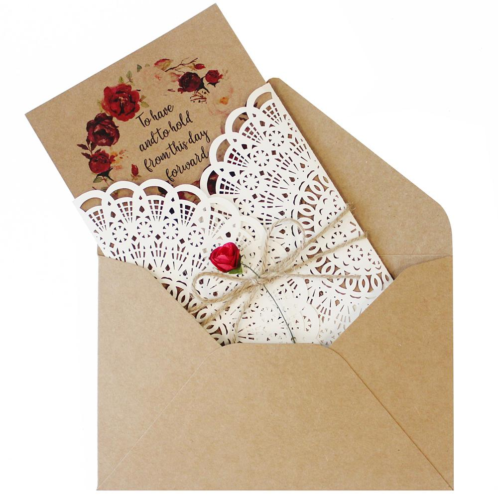 Vintage Ivory Wedding Invitation With Rose Flower Picky Bride