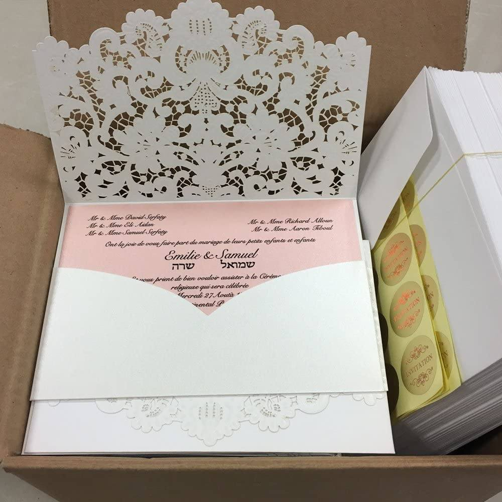 Vintage Lace Wedding Invitations Pocket Wedding Invitations Cards Elegant Wedding Cards Pink Inserts Picky Bride