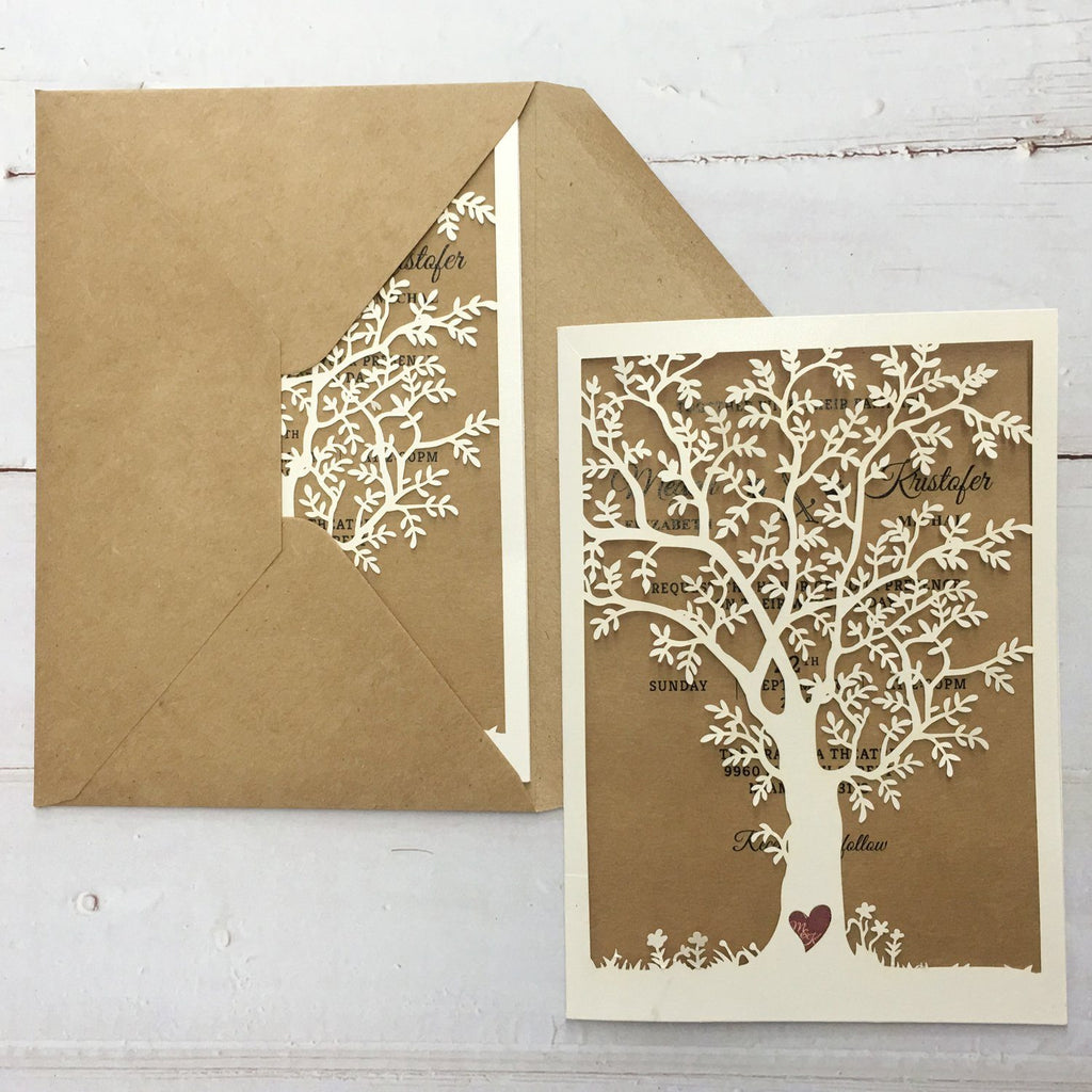 Vintage Tree Wedding Invitation Cards for Country Wedding Theme Picky Bride