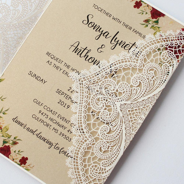 Vintage Wedding Invitation Cards With Burgundy Ribbon Bow Picky Bride