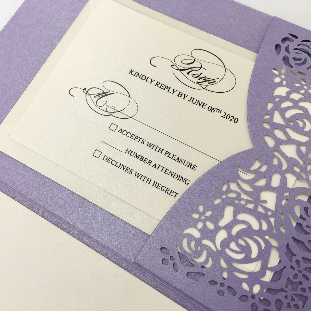 Wedding Invitation Cards with RSVP Laser Cut Invitations for Purple Theme Picky Bride