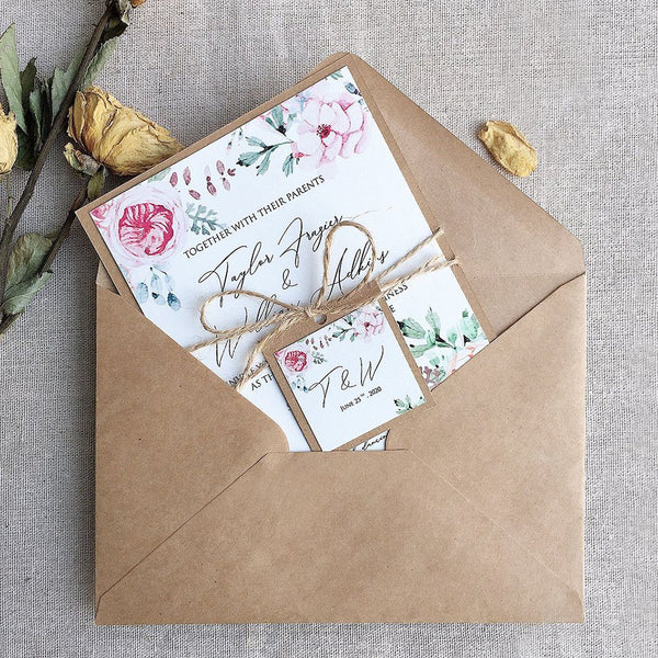 Wedding Invitations Rustic, Kraft Paper & Flowers Invite Cards, Spring Wedding Theme Picky Bride