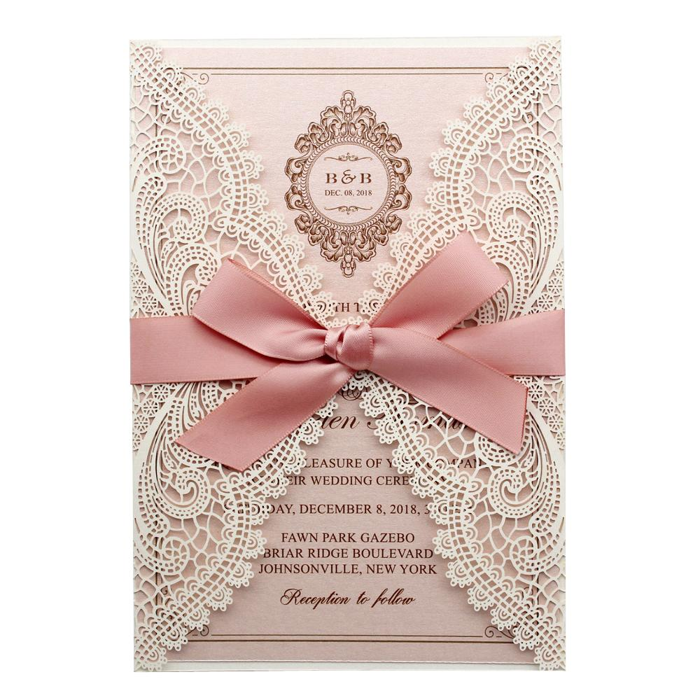 White and Pink Wedding Invitation, White Lace Bridal Shower Invitation Picky Bride