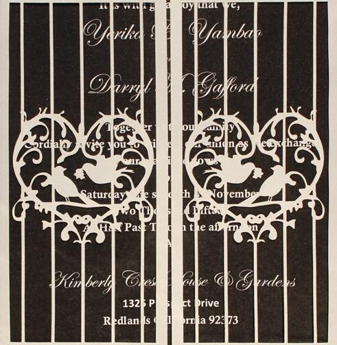 White Black Wedding Invitation, Gate Fold Wedding Invitation Set With Birds Design Picky Bride