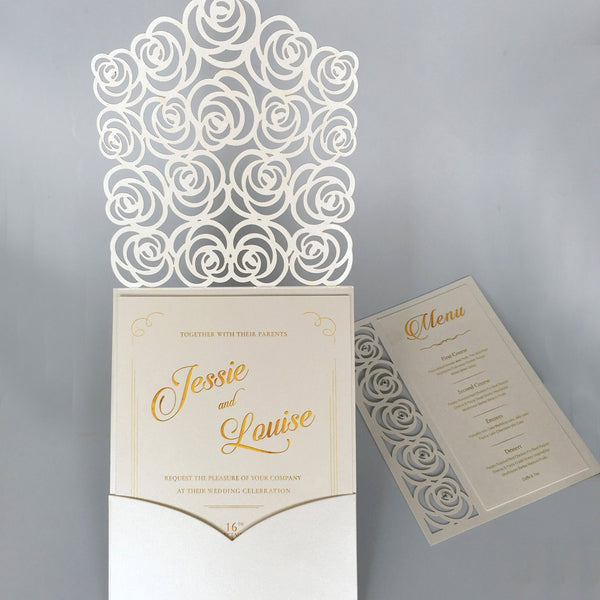 White Floral Wedding Invitation Cards Garden Theme PB1965-W Picky Bride