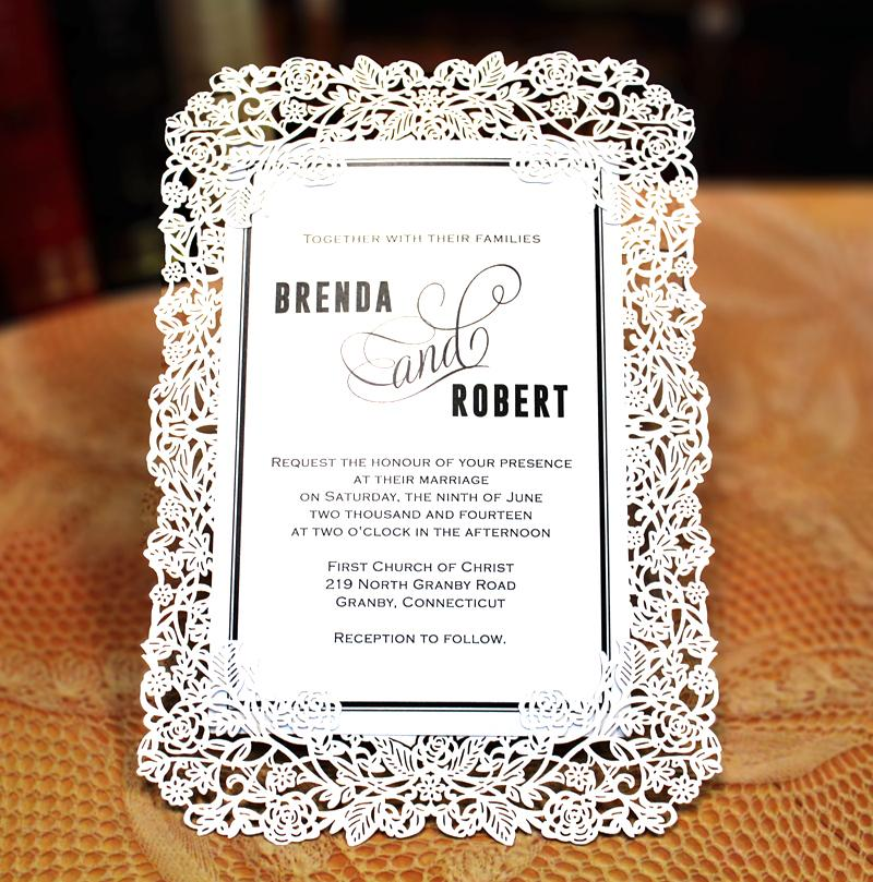 White Lace Wedding Invitation Cards for Wedding Decoration Picky Bride