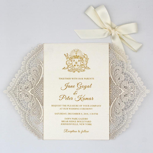 White Laser Cut Wedding Invitation Card with RSVP Cards Picky Bride