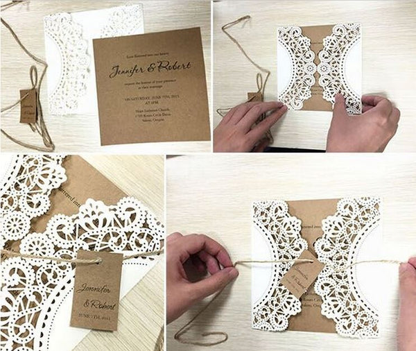 White Rustic Wedding Invitation Cards; Customized Kraft Wedding Invitations; Laser Cut Invitations Picky Bride