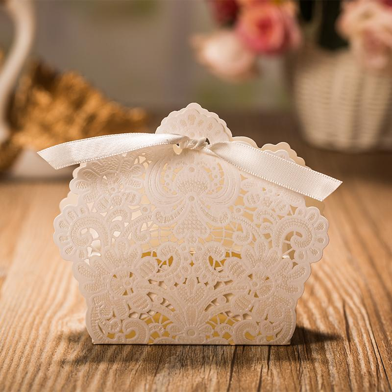 White Wedding Favor Box, White Wedding Candy Box, Basket Wedding Favors Box with Ribbon - Set of 50 Picky Bride