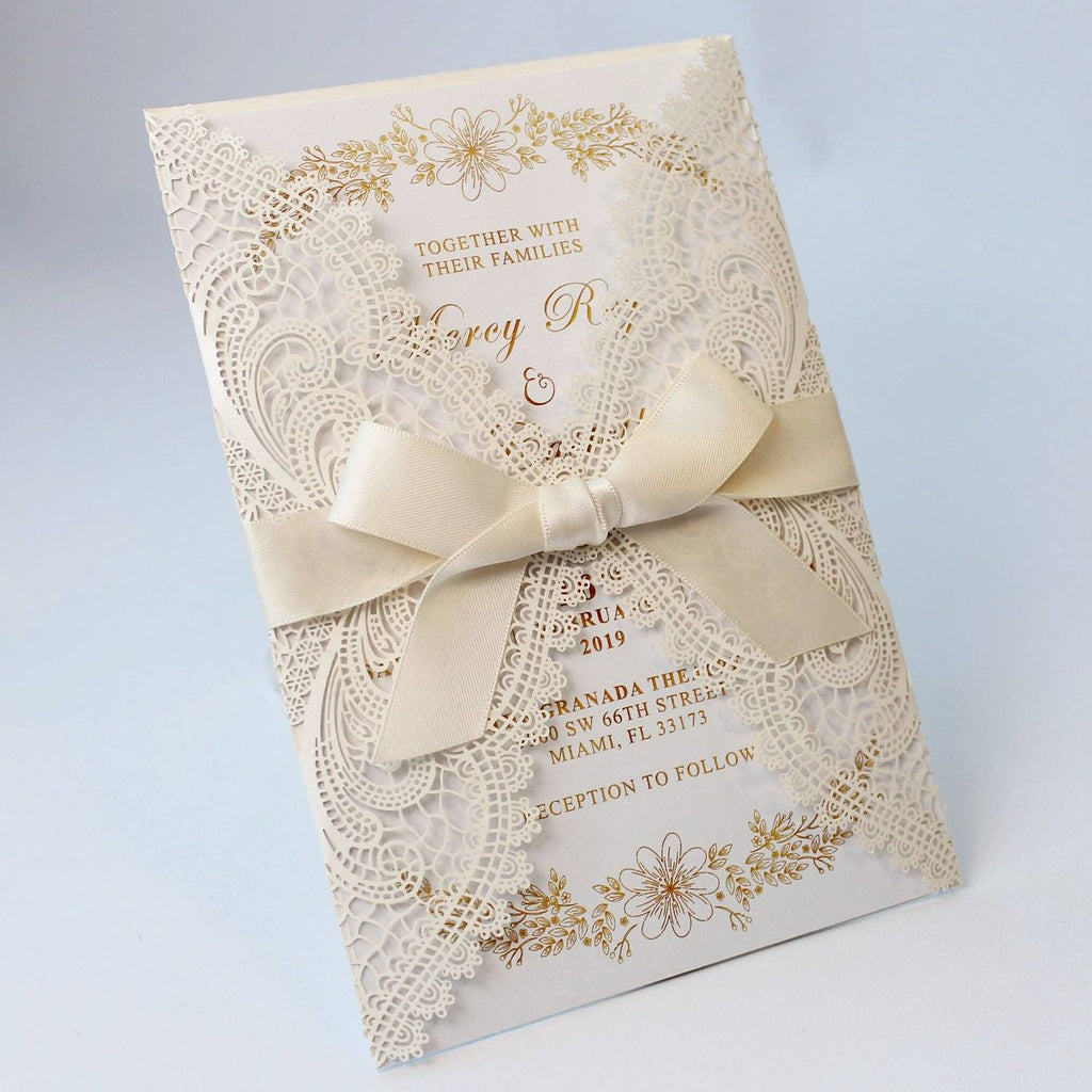 White Wedding Invitation with Ribbon Bow, Customized Invitation Cards Picky Bride