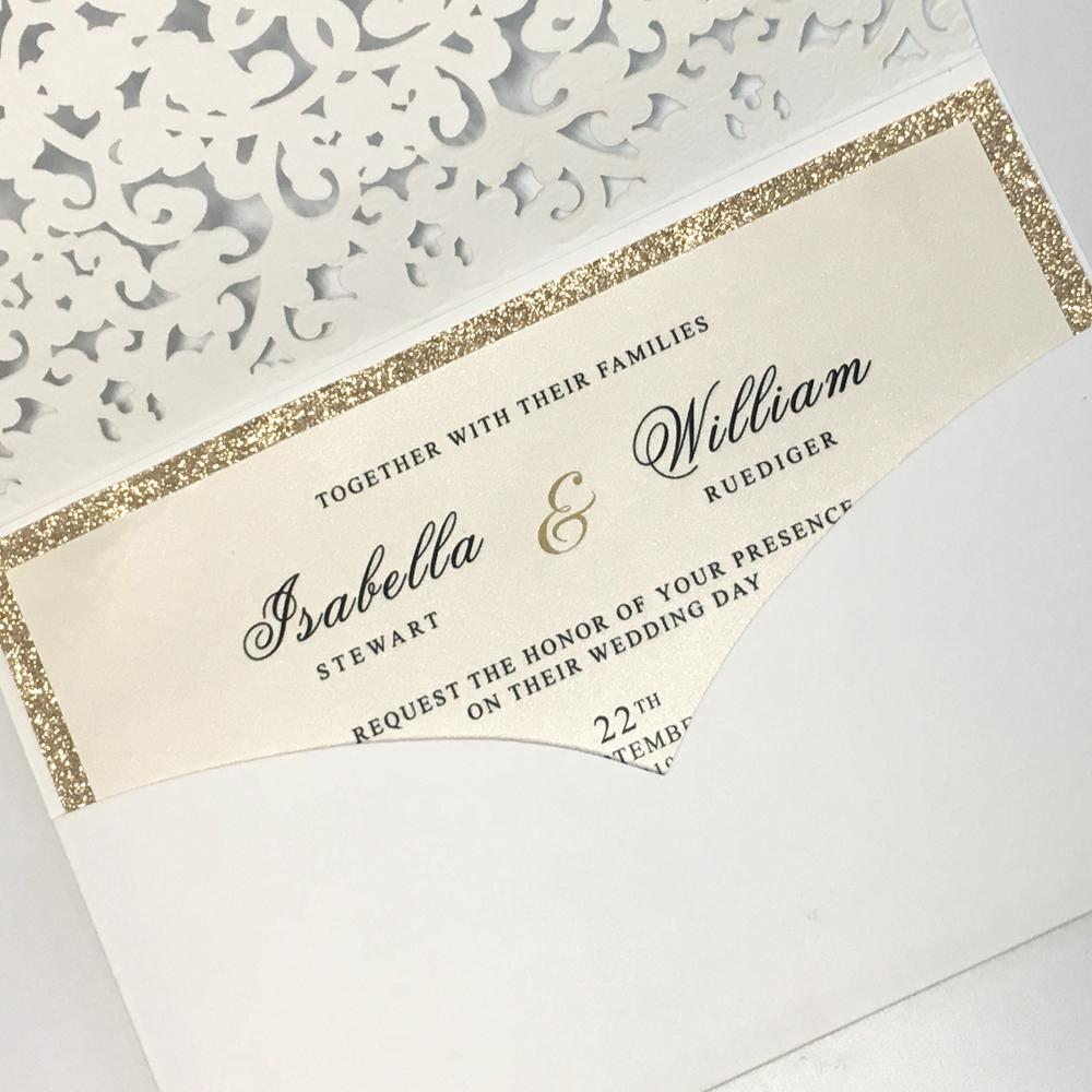 White Wedding Invitations With Floral Design Picky Bride