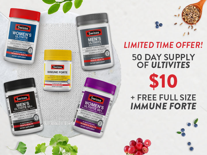 Limited Time Offer — 50-Day Supply of Ultivites for $10 + Free Full-Size Immune Forte