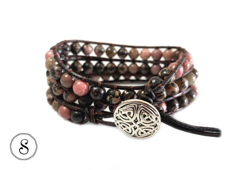 Bracelet Wrap Rose & Marron pierres naturelles