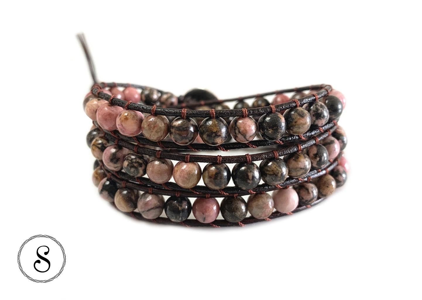 Bracelet Wrap Rose & Marron pierres naturelles - Sakya bijoux