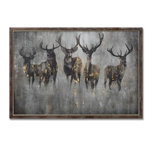 Large Curious Stag Painting on Cement Board with Frame - Harvey Bruce Interiors