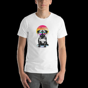 printed t-shirt,custom printed t-shirt, custom print,pug dog,dab pug,naughty pug, cute pug, lovely pug, white shirt,plain shirt,unisex shirt,pug sketch,pug cartoon,black pug brewing,brewing,dog,puppy, pug puppy,dab,artistic dog,oil stroke
