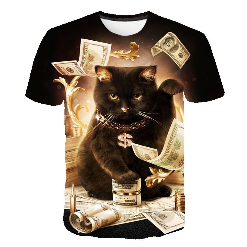 PLAYING IN DOLLARS CAT T-SHIRT
