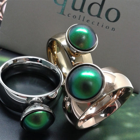 QUDO Bottone 11.5mm Top - Scarabeus Green Pearl