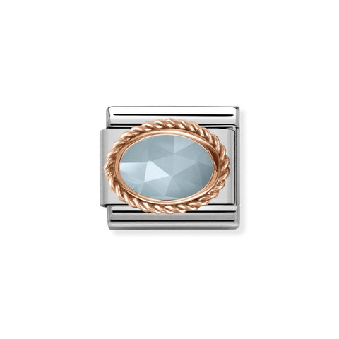 Composable Classic Link - 9ct Rose Gold Oval Milky Aquamarine